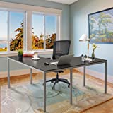 """CHADIOR 60"""" L x 55"""" W Modern L-Shaped Desk Workstation Table for Small Space Home Office, Black with Silver Grey Legs"""