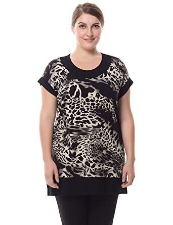 1f3b6dc0d2e39 Chicwe Women s Plus Size Short Sleeves Leopard Print Tunic with Contrast  Neck Cuff 10