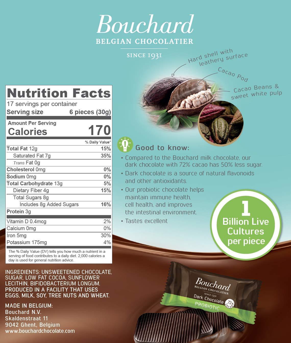 Bouchard Belgian Dark Chocolate Gluten-Free 72 % Cacao with Probiotics (100 Pieces) by Bouchard (Image #4)