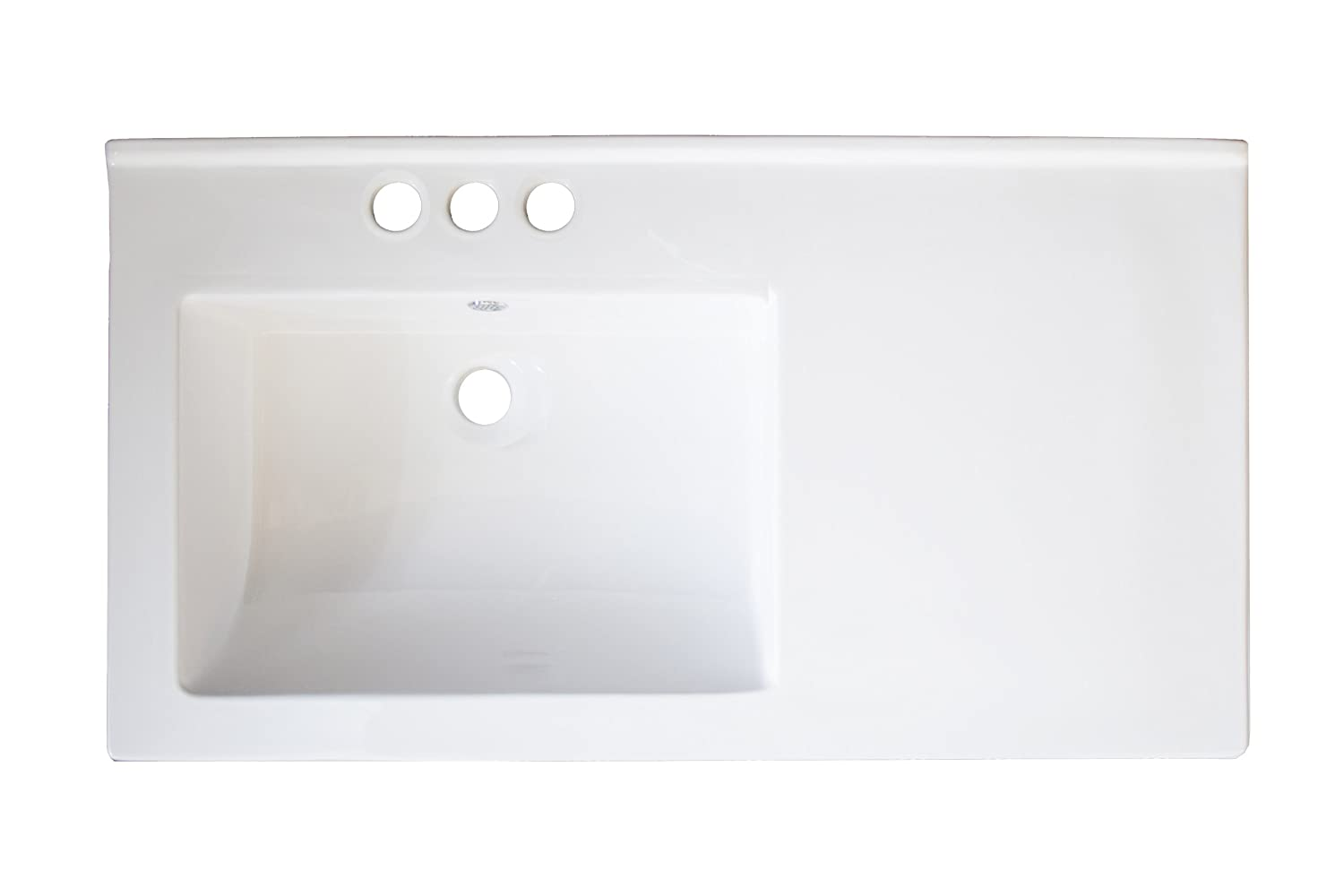 American Imaginations AI-13-710 Ceramic Top for 4-Inch OC Faucet, 34-Inch x 18-Inch, White