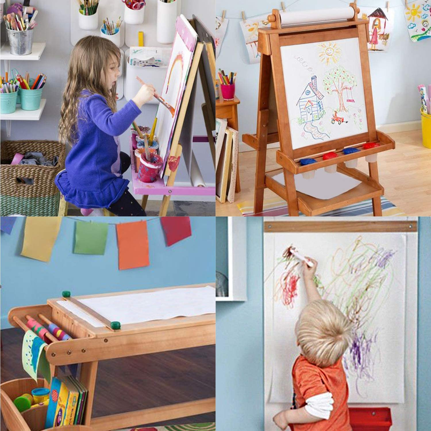 """RUSPEPA Tabletop Easel Paper Roll Painting Paper Roll Fits Kids 17"""" - 24"""" inch Wide Easels and Dispenser for Craft, 17.5Inch x100Feet"""
