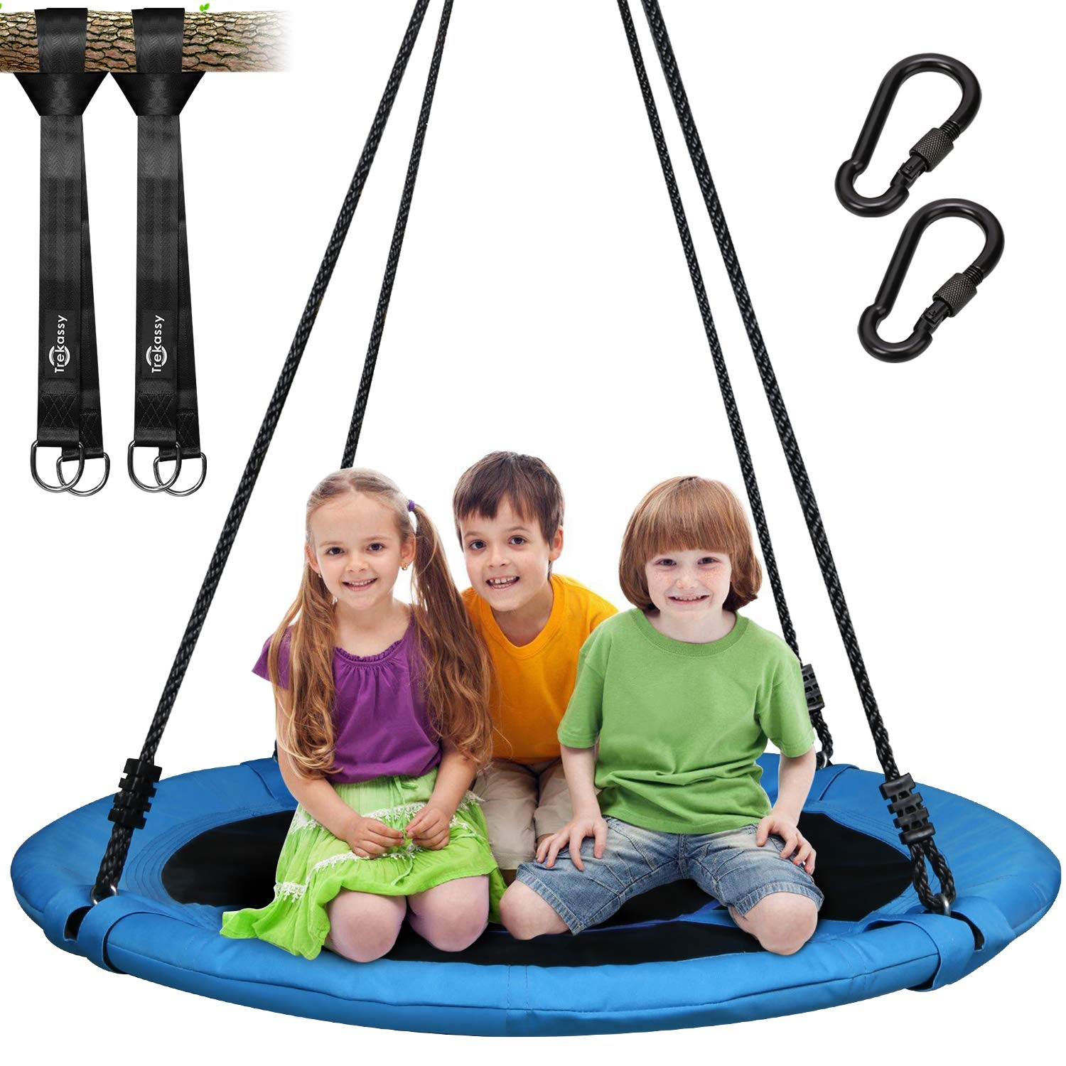 Trekassy 700lb Saucer Tree Swing for Kids Adults 40 Inch 900D Oxford Waterproof Frame with 2 Hanging Straps by Trekassy (Image #1)