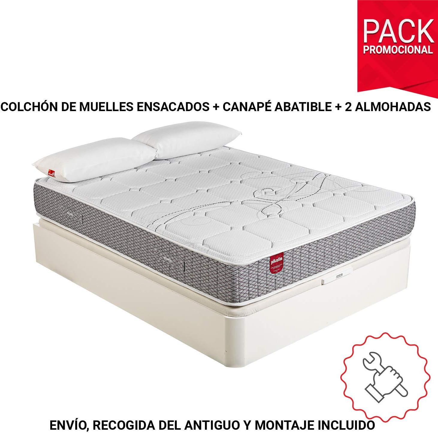 PIKOLIN Pack Colchón Troas de muelles ensacados 150x190 + canapé con Base abatible y 2 Almohadas de Fibra