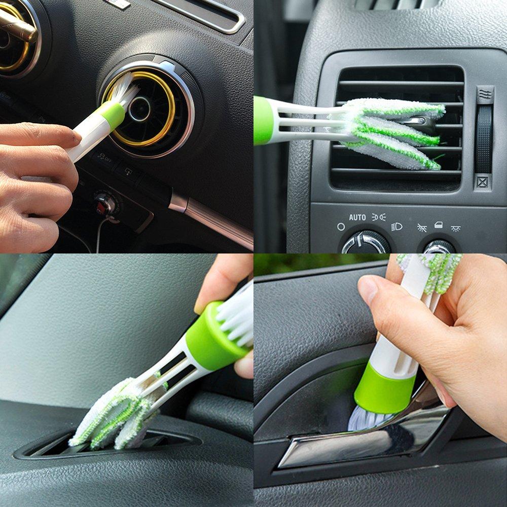 Noir Finegood Rangement de pare-soleil de voiture polyvalent,tissu en nylon /élastique Accessoires de voiture Rangement pour CD,lunettes de soleil,avec 1 brosse de nettoyage pour climatisation