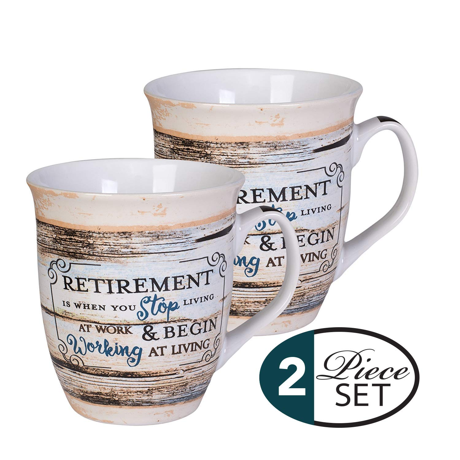 Elanze Designs Retirement Working At Living Distressed Wood Design 16 Ounce Ceramic Stoneware Coffee Mugs Set of 2