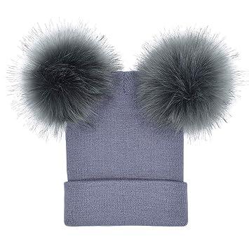 646dee6e08429 Hosaire 1X Gorros Invierno Mujer Dos Pompones Estilo Invierno Cálido  Sombrero de Punto Al Aire Libre de Engrosamiento Gorro de Esquí para el  Invierno