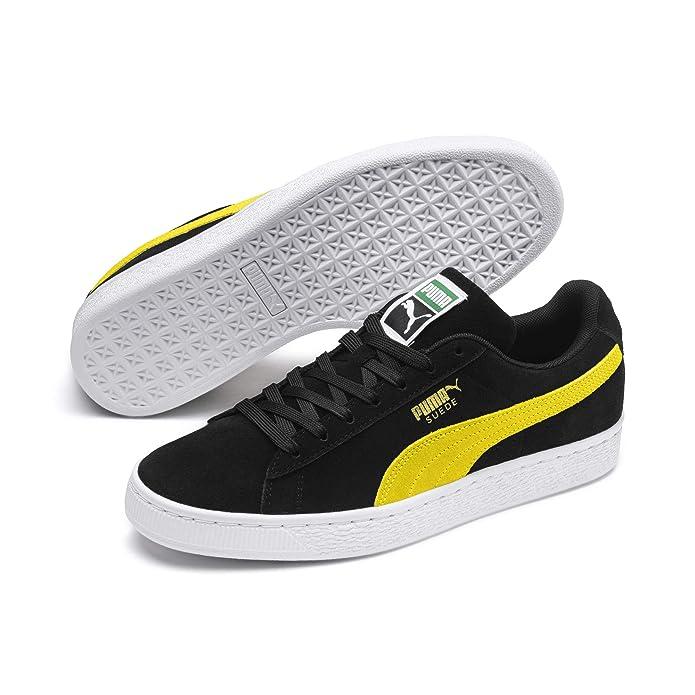 Puma Suede Classic Sneaker Damen Herren Unisex Wildleder Schwarz mit Gelbem Streifen (Puma Black-Blazing Yellow)