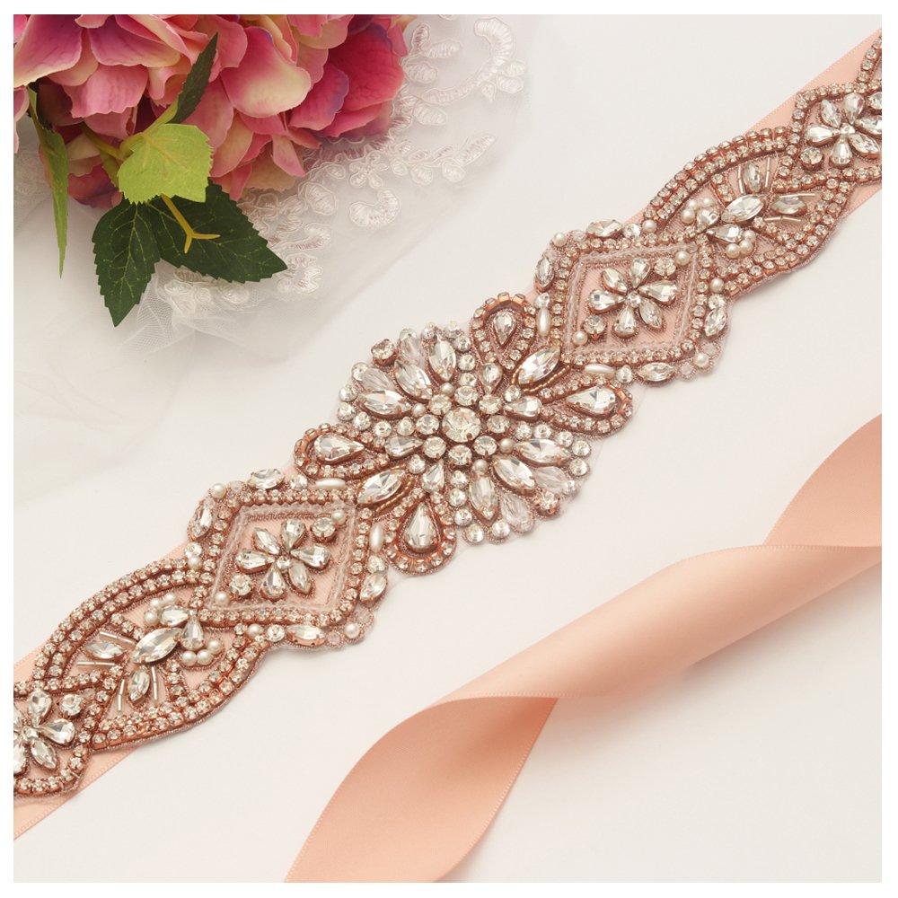 Yanstar Handmade Rose Gold Rhinestone Crystal Wedding Bridal Belts Sash With Blush Ribbon Sashes for Evening Party Prom Bridesmaid Dress