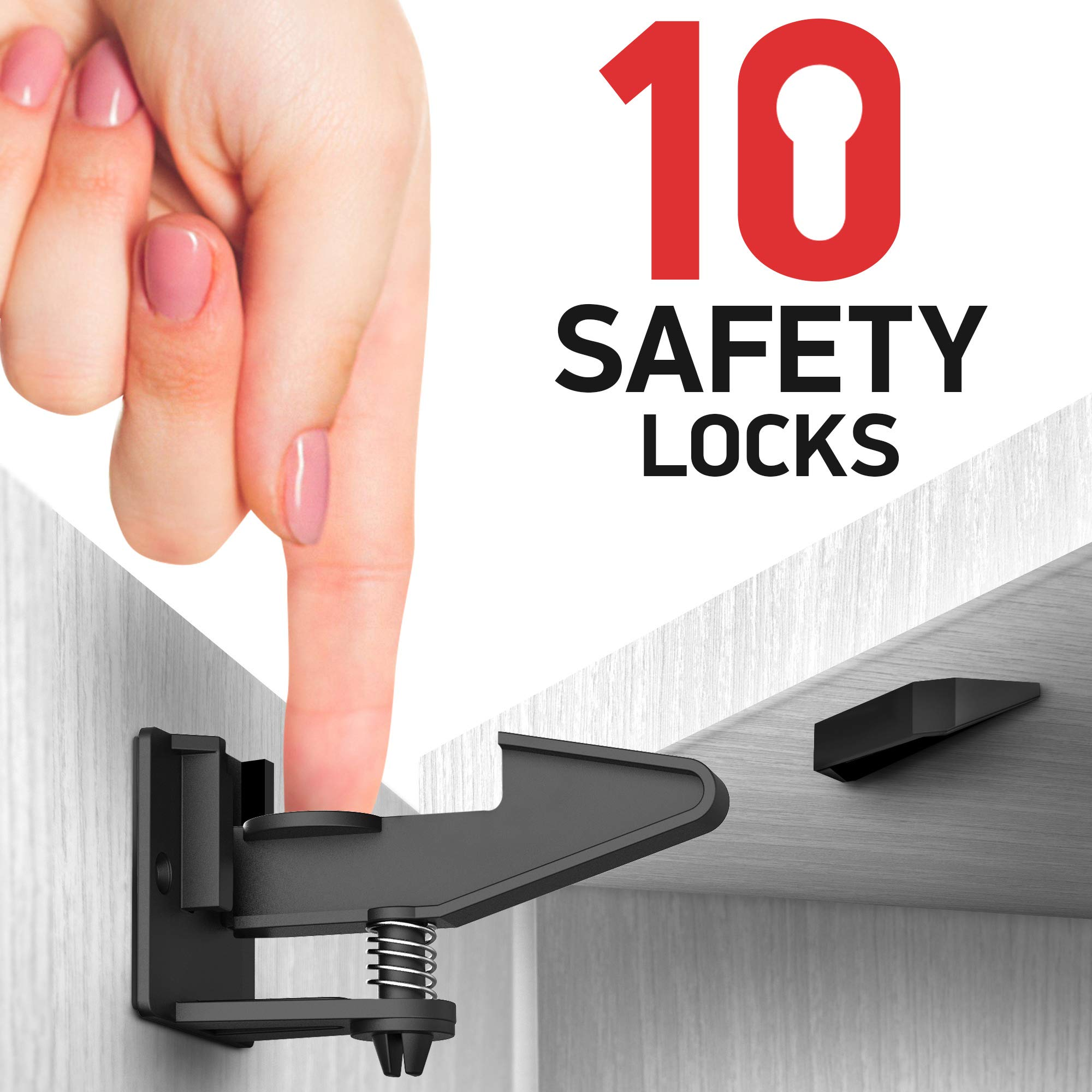 Kitchen Cabinet Locks Child Safety - 10 Pack Adhesive Child Proof Cabinet Locks - Baby Safety Cabinet Locks - Quick and Easy Child Locks for Cabinets and Drawers - Corner & Door Guards, Socket Covers by Daily Best