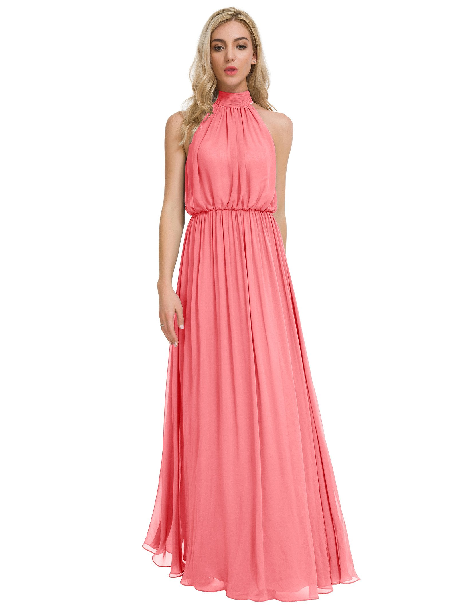 Alicepub Long Chiffon Bridesmaid Dresses Prom Maxi Dress Evening Formal  Gowns Halter Plus Size, Coral Pink, Custom Size