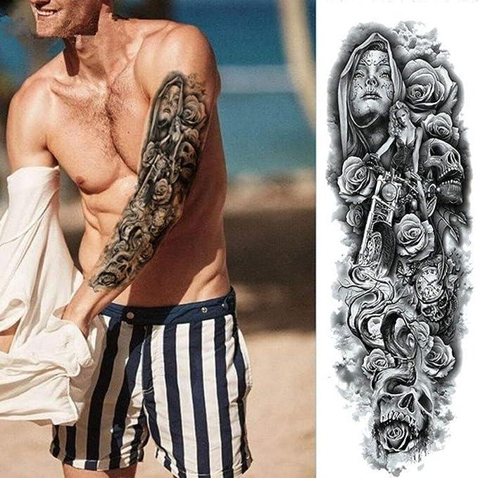 Tatuaje temporal pegatina arte tatuaje impermeable flor completa ...