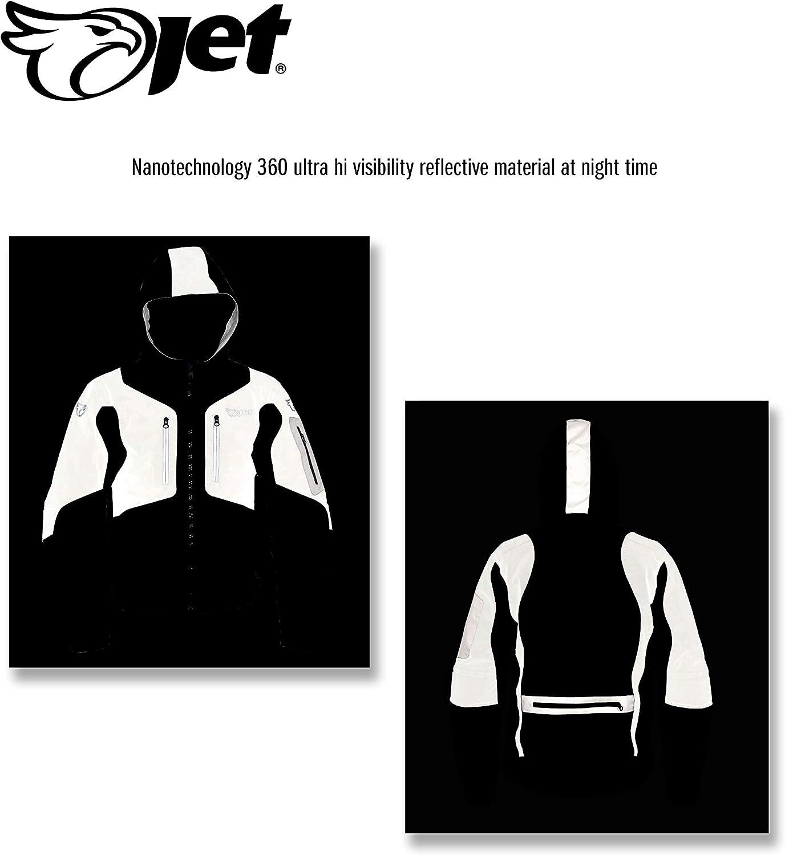 Jet Motorcycle Motorbike Jacket Mens Waterproof Armoured 360 Reflective Super Viz High Performance 3 Layer REFLEX Black, XL 42-44