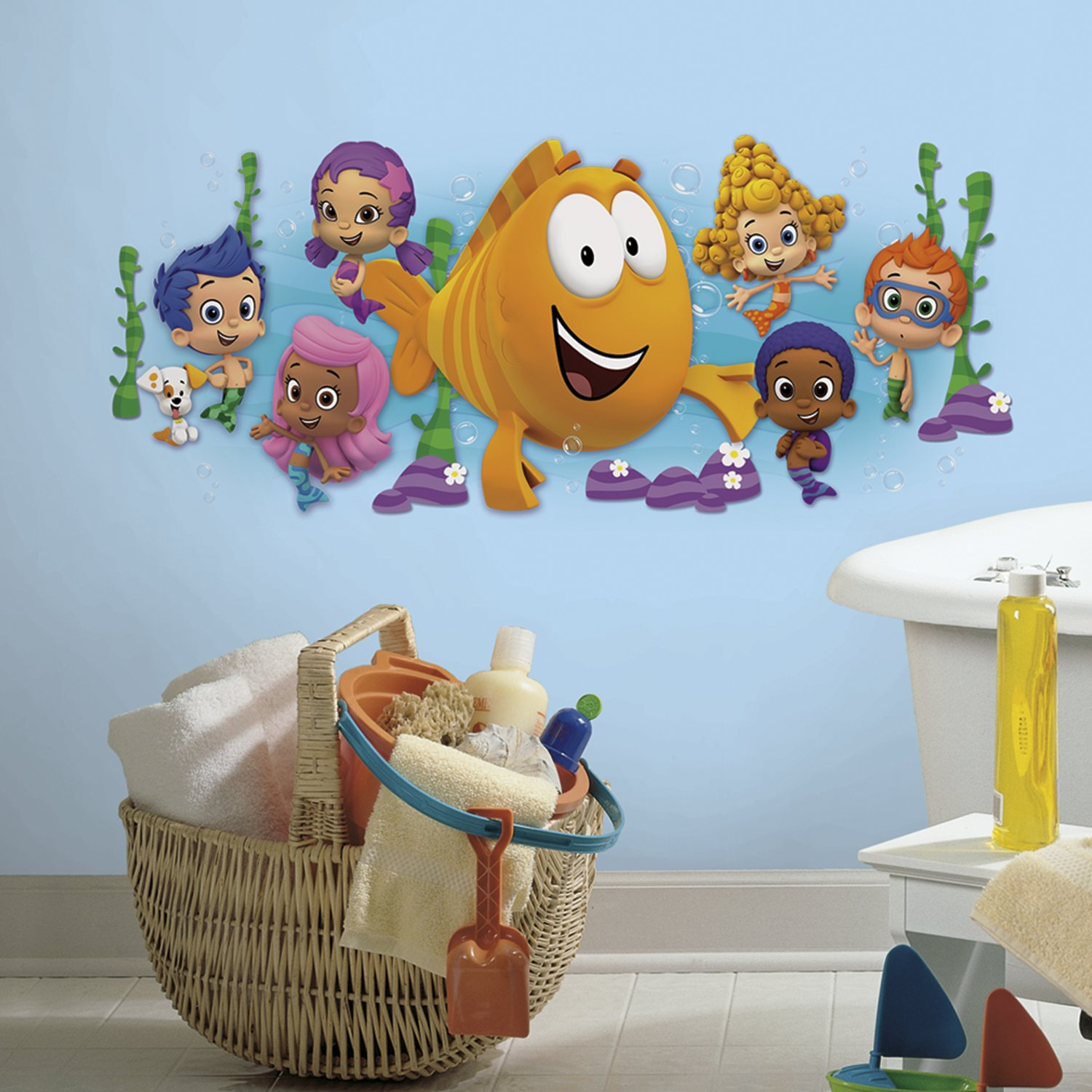 Roommates rmk2774gm bubble guppies character burst peel and stick roommates rmk2774gm bubble guppies character burst peel and stick giant wall decals 18 x 40 amazon amipublicfo Images