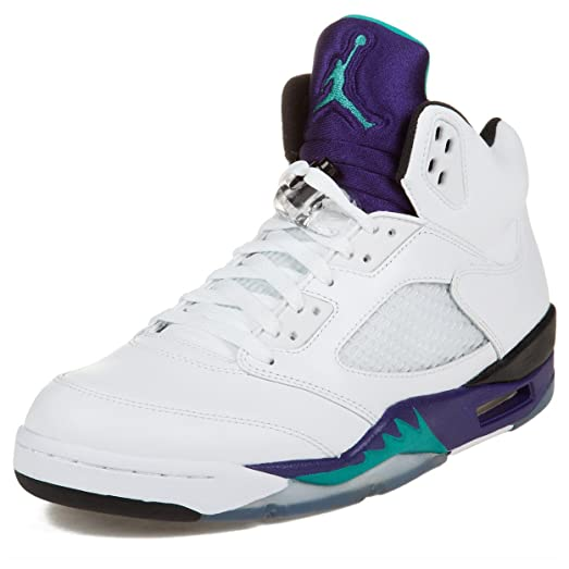 Air Jordan 5 Retro \u0026quot;Grapes\u0026quot; Men\u0027s Basketball Shoes White/New  Emerald-