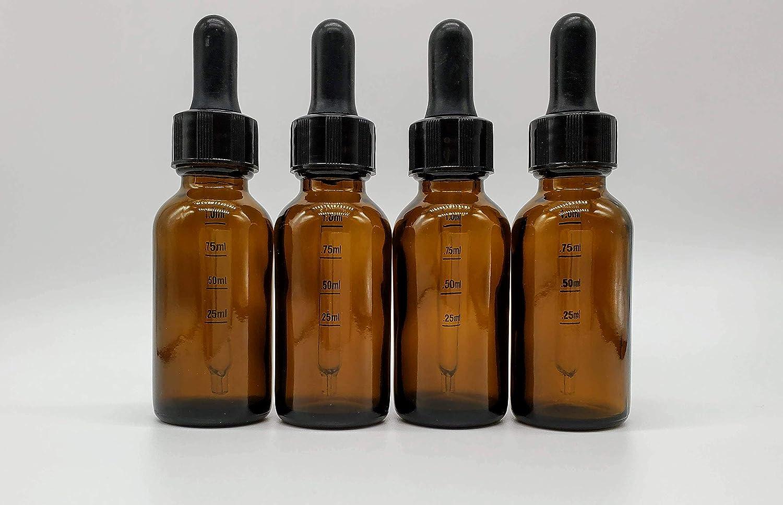 1 oz (30 mL) Amber Boston Round Glass Bottle w/Glass Graduated Measurement Marked Dropper (4-Pack)