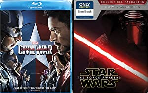 Disney Captain America Marvel Civil War + Star Wars Steelbook The Force Awakens Exclusive Movie Set Double Feature