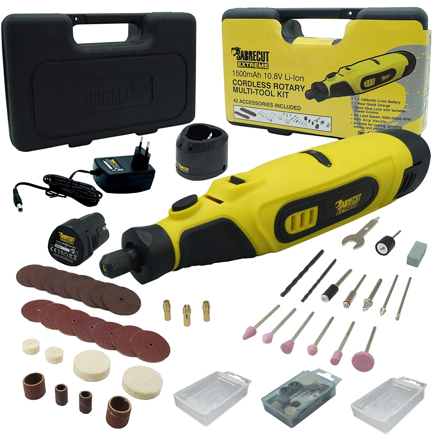 SabreCut CraftMate SCMG002EU Lithium Ion 10.8v Cordless Rotary Tool Multipurpose with 42 Accessories Included