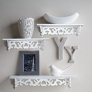 Set of 3 Shabby Chic Style Floating wall shelves,Bookshelf, White Wall Mounted Decorative ,Display Wall Shelf, Storage Rack