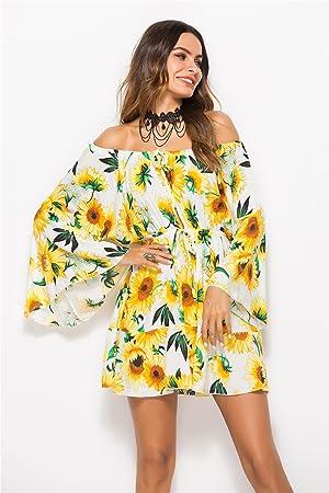 ZhuXin Vestidos de Playa de Verano, Vestido de Verano de Manga Larga Estampado de Flores