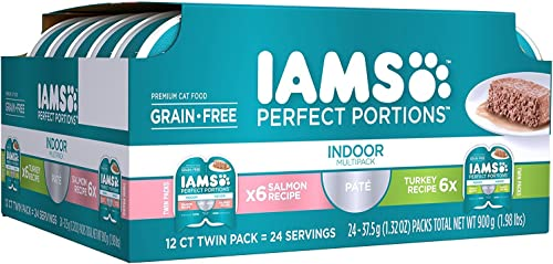 Iams Premium Cat Food Grain Free Perfect PORTIONS Indoor Multi Pack 6- 12-Servings Salmon Recipe, 6- 12-Servings Turkey Recipe