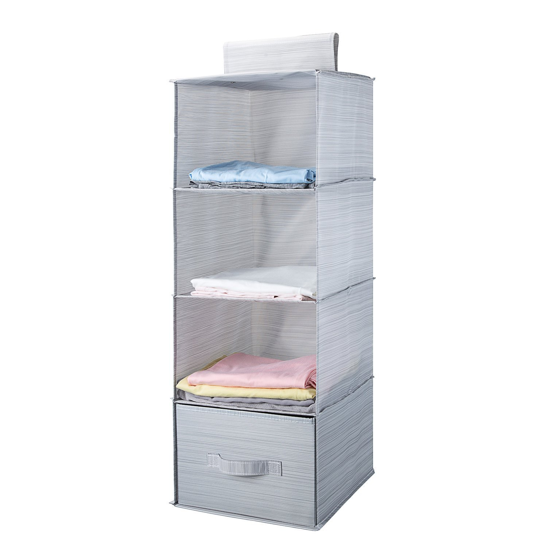 MEELIFE Estantes Colgantes, Armario Plegable de 4 estantes con 1 cajón Armario de