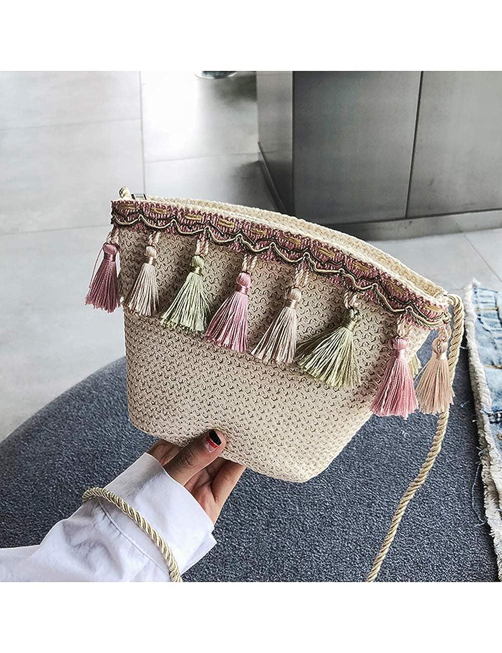 Hobo Straw Shoulder Bag Small Tassel Crossbody Bag Summer Lightweight Handbag Zipper Bucket Tote Bag besbomig
