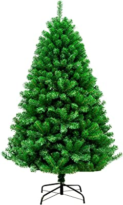 Garne T Premium Artificial Christmas Tree 4.9 Feet with Pine Cones Red Balls Decor Metal Hinged Stand 600Branch Tips Xmas Trees
