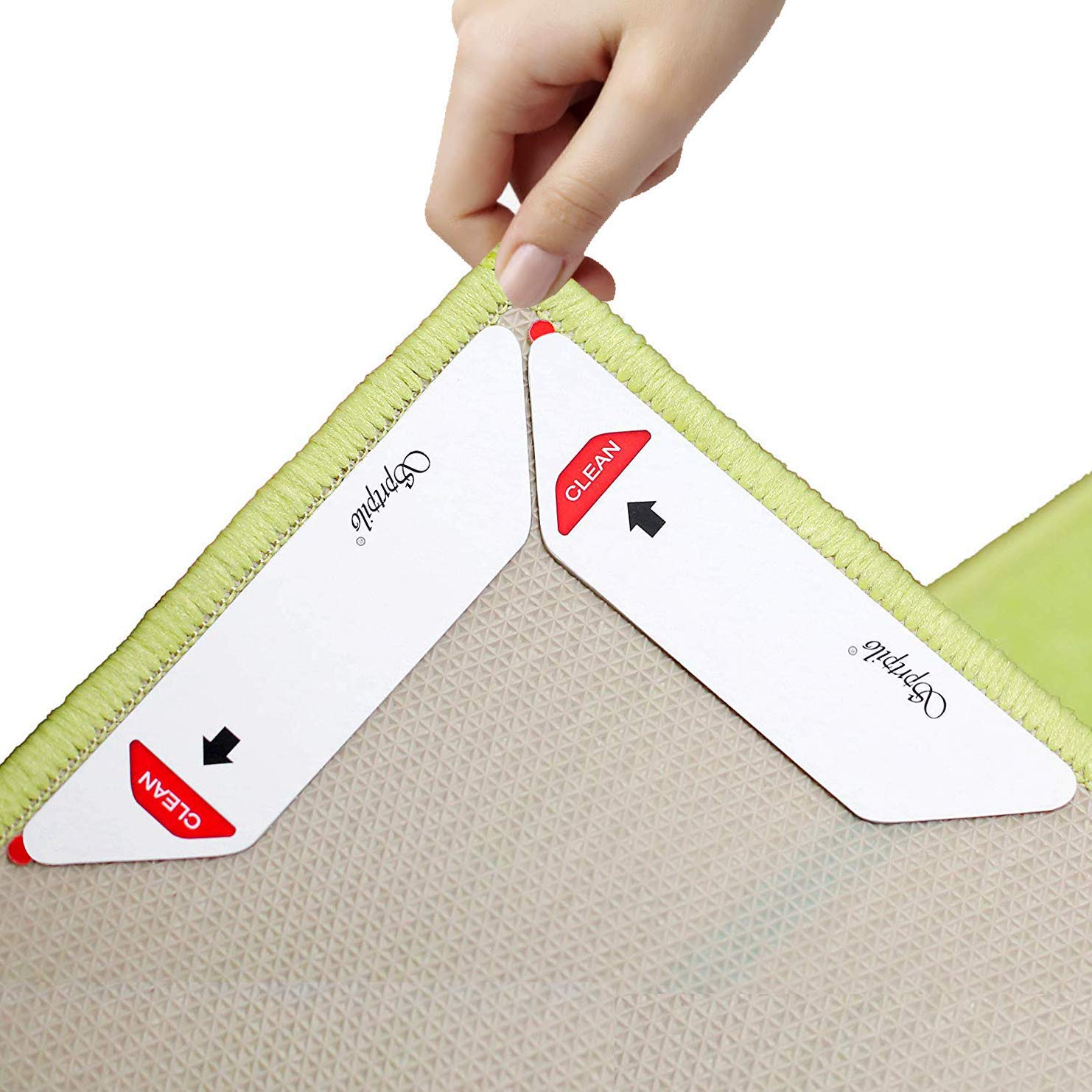 Sprtpilo Rug Gripper, 8 PCs Non Slip Carpet Tape, Keeps Your Rug in Place and Makes Corners Flat. Premium Carpet Gripper with Renewable Gripper Tape, Suit Well for Indoors or Outdoors Rug (Large)