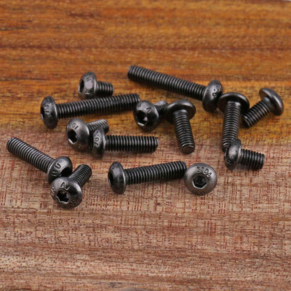 M2-M3 schwarz vernickelte Sechskantschrauben Klasse 10.9 50 St/ück-M2/_3mm Pilzkopf-Sechskantschrauben ISO 7380