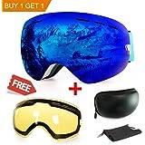 Maschera da sci, antinebbia protezione UV Winter Snow sport snowboard con intercambiabili doppie lenti sferiche per uomini, donne e giovani Motoslitta sci skate