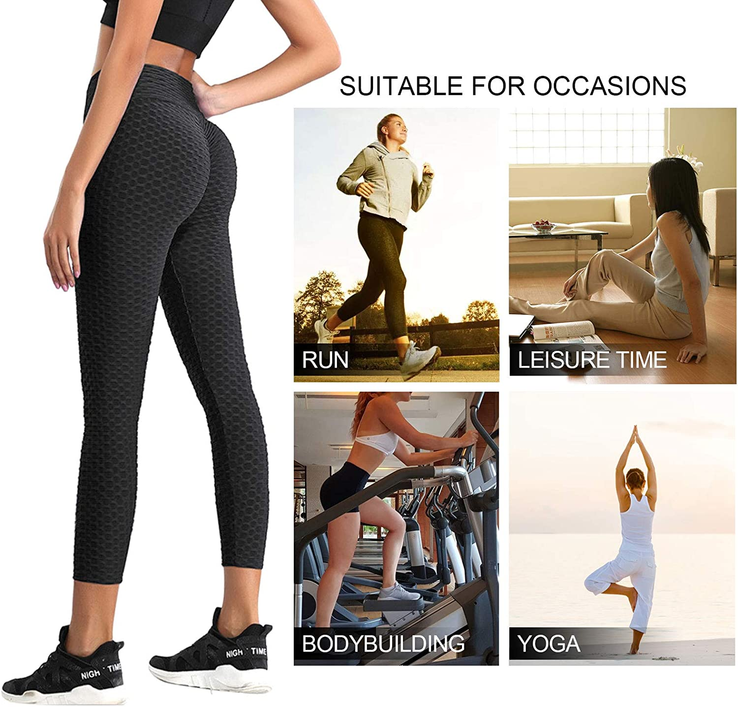 Womens High Waist Tummy Control Athletic Yoga Pants Slimming Booty Leggings Workout Running Butt Lift Tights