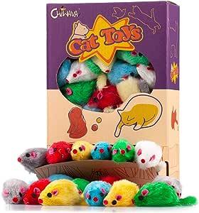 Chiwava 36 Piezas 10,5 cm Juguetes para Gatos Peludo Ratones sonajero pequeño Ratón Gato Gatito Interactivo, Colores Variados: Amazon.es: Productos para mascotas