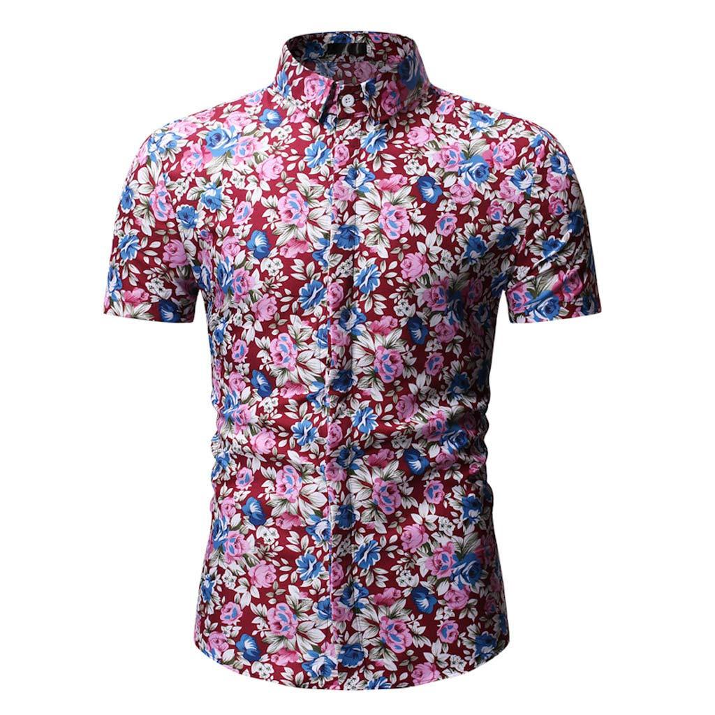 Retro T Shirts for Men 90S,Men's Printed Casual Button Down Short Sleeve Shirt Top Blouse,Men's Big & Tall Shirts,Red,2XL