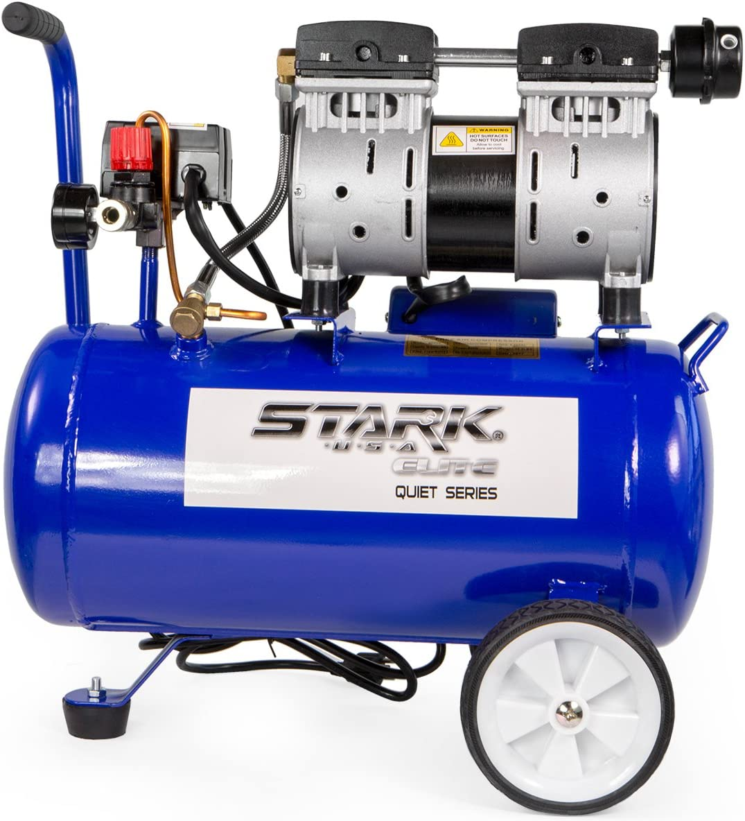 STKUSA Ultra Quiet Oil-Free 1.0 HP Air Compressor w 6.3 Gallon Steel Tank