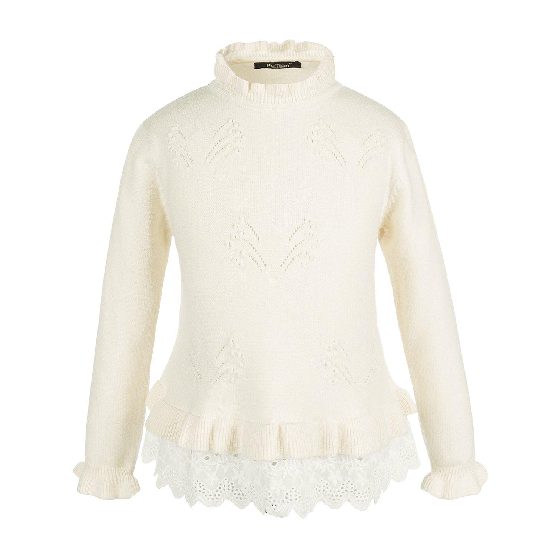 PuTian Kids-Girls Basic Long Sleeve Pullover Popular Knit Sweater-White-[5-6Years]