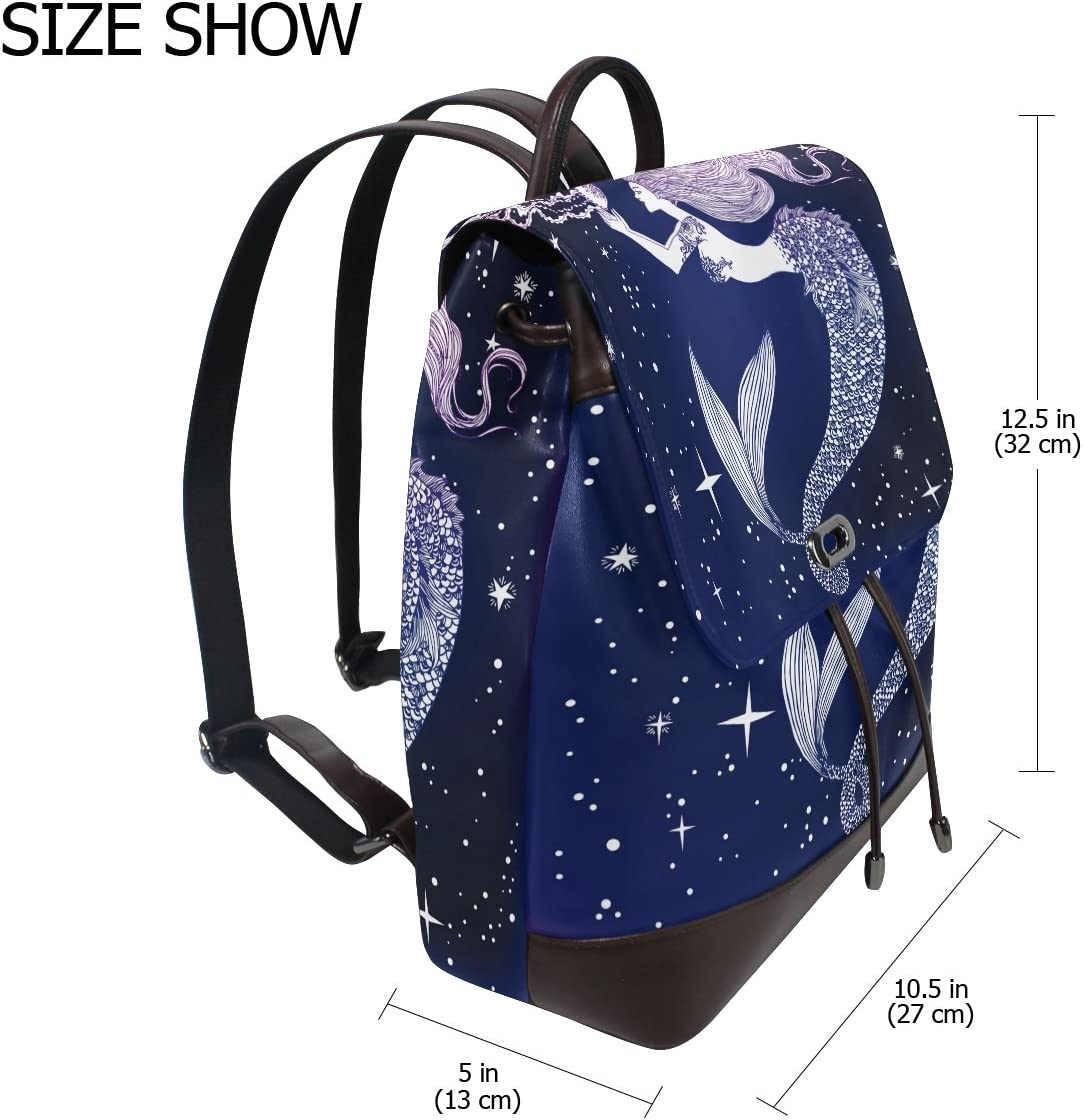 KUWT Mermaid with Jellyfish Shining Stars PU Leather Backpack Photo Custom Shoulder Bag School College Book Bag Casual Daypacks Diaper Bag for Women and Girl