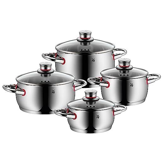 WMF Quality One - Batería de Cocina, 4 Piezas, 2 cacerolas Bajas Ø16cm (1,7 litros) y Ø20cm (3,4 litros) con Tapa, 2 ollas Bajas Ø16cm (2,0 litros), y ...