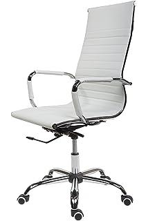 Schreibtischstuhl weiß leder  Bürostuhl Drehstuhl Chefsessel Cagliari, ergonomische Form ~ weiß ...