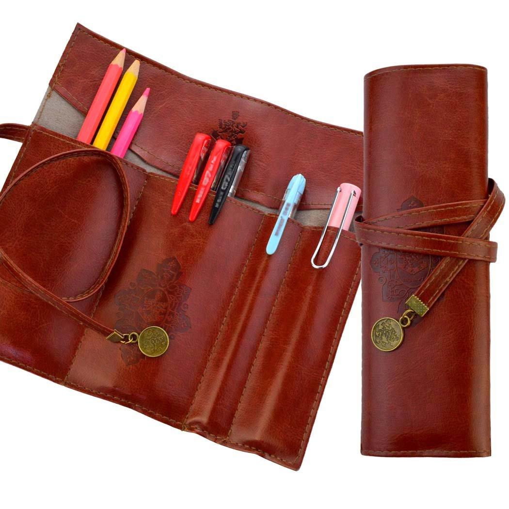Miayon Twilight Retro Bandage Synthetic Leather Pen Bag Pencil Case Makeup Pouch,Vintage Style Rollup Pencil Case Pencil Bag Dark Brown