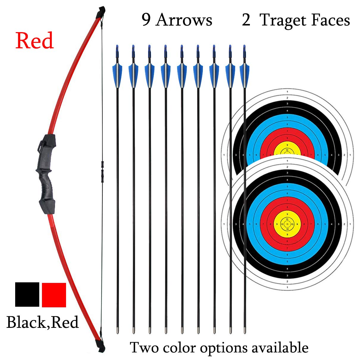 iMay 45'' Bow and Arrows Set with 9 Arrows 2 Target Faces for Teens Outdoor Archery Beginner Gift Recurve Bow Longbow Kit (Red) by iMay