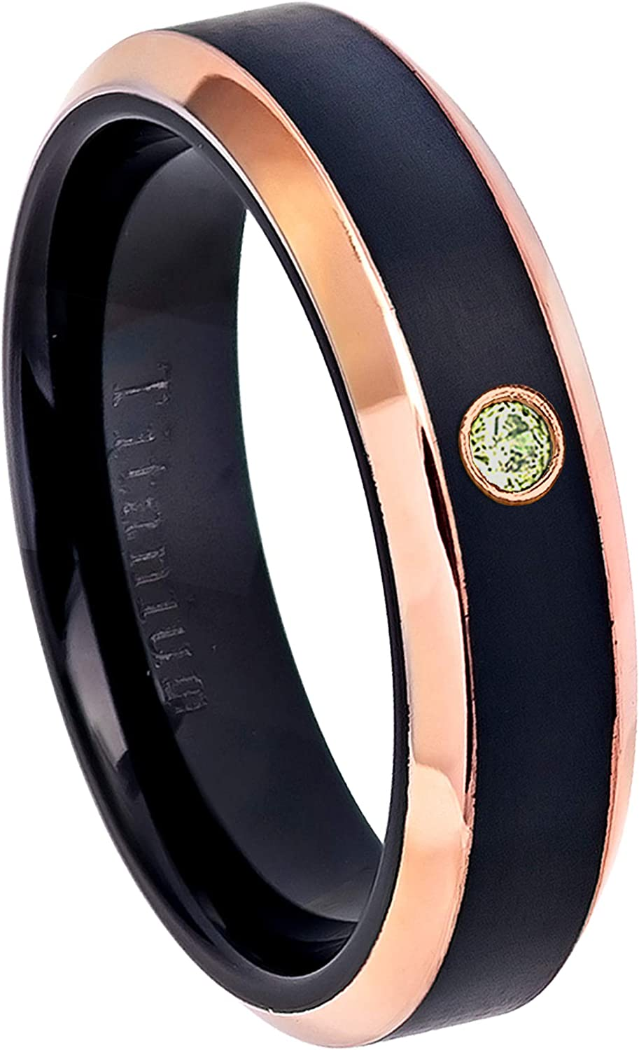 August Birthstone Ring 0.07ct Peridot Titanium Ring 6MM Black Ion Plated /& Rose Gold Plated Beveled Edge Comfort Fit Titanium Wedding Band