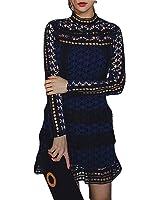 Celebritystyle wine/black high neck lace mini dress SEE MEASUREMENTS