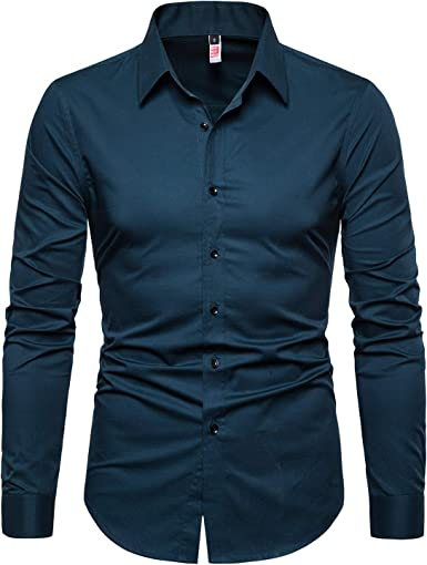 Mens Business Dress Shirts Long Sleeves Solid Button Down Shirts