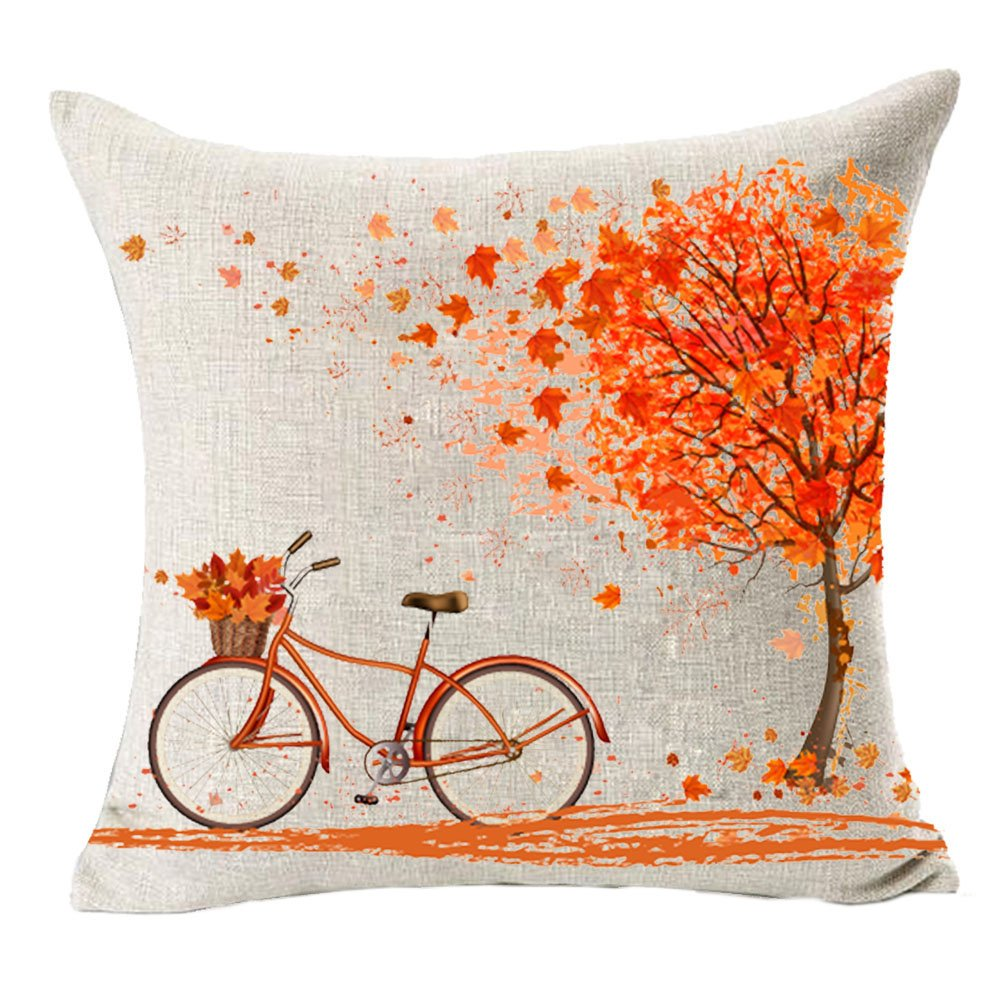 MFGNEH Home Decor Red leaves and Bicycle Cotton Linen Fall Pillow Covers 20x20, Throw Pillow Case Cushion Cover for Sofa by MFGNEH
