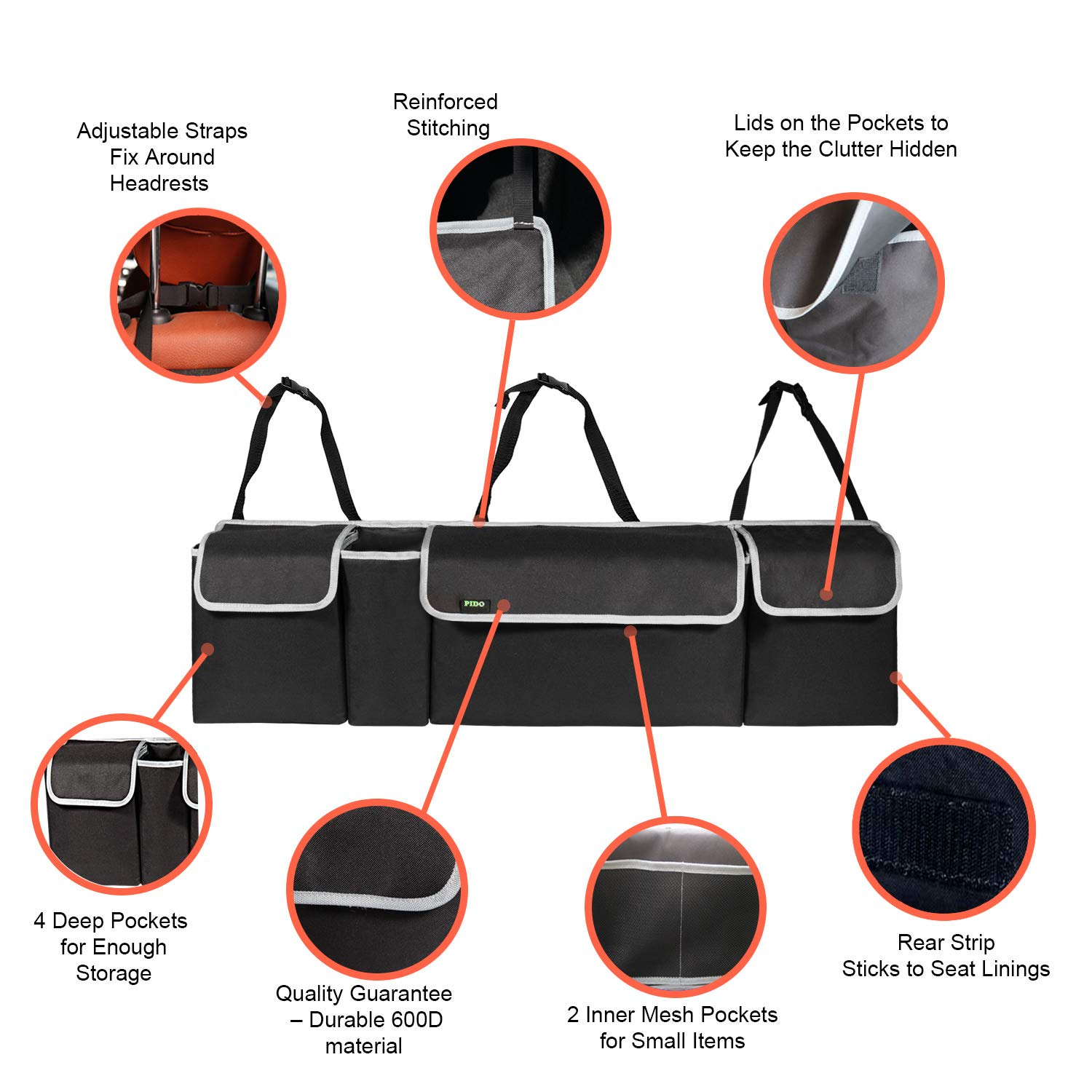 Auto Hanging Seat Back Storage Organizer for SUV and Many Vehicles Free Your Trunk Space PIDO Products PIDO Backseat Trunk Organizer