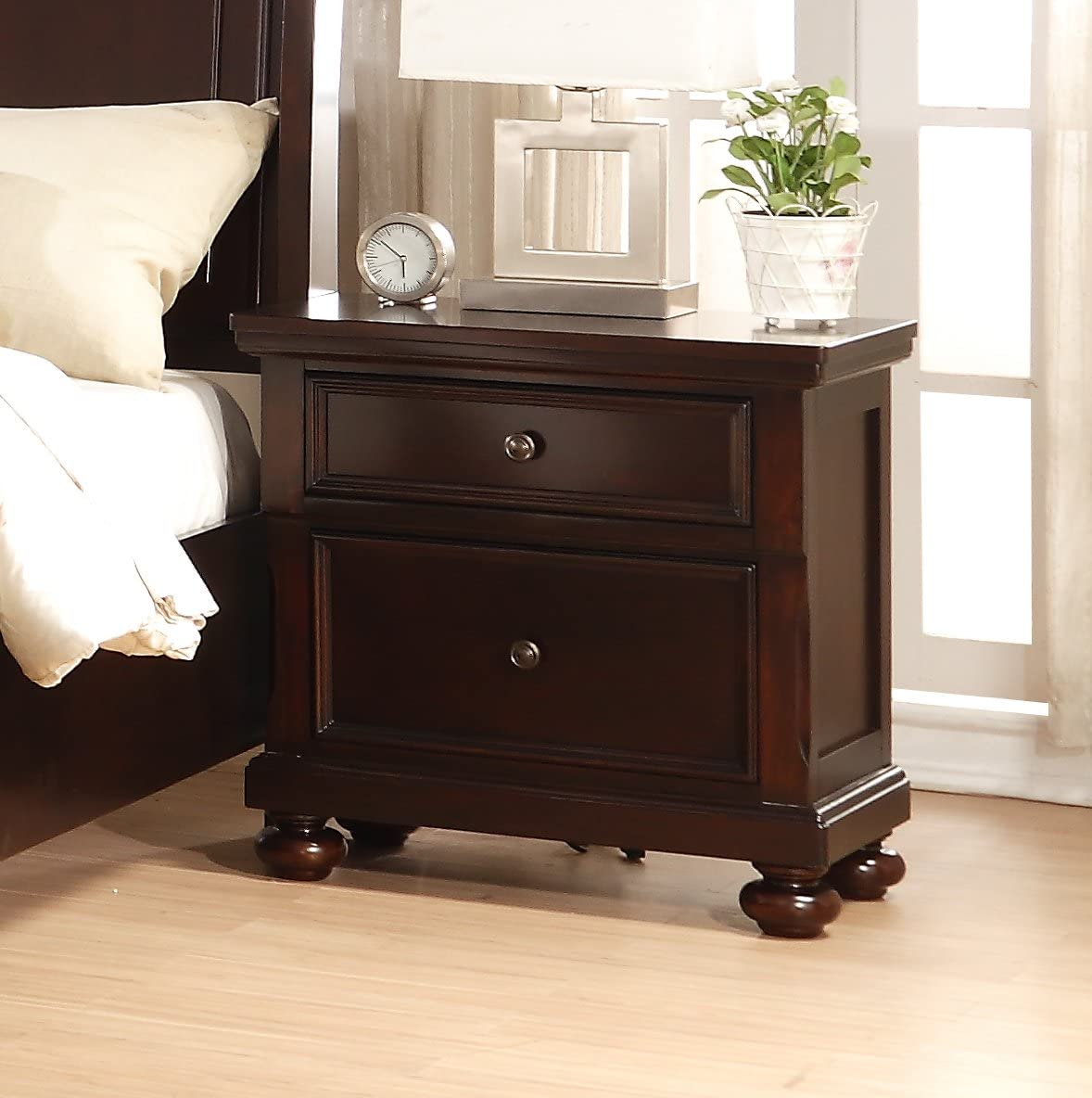 Roundhill Furniture Brishland 2 Drawers Bedroom Nightstand, Rustic Cherry
