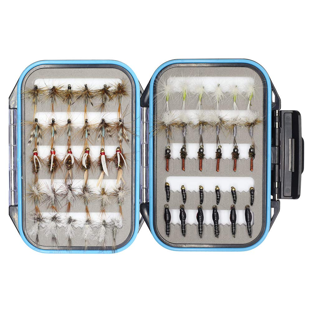 YZD Trout Fly Fishing Flies Collection 60 pcs Premium Flies Dry Wet Nymph Streamers Fly Assortment with Fly Box Flyfishing Flys Lures Kits (Classic Trout Guide Selection 60Pcs)