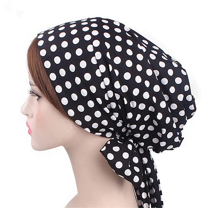 1940s Hair Snoods- Buy, Knit, Crochet or Sew a Snood Vintage Women Cotton Head Scarf Chemo Cap Bowknot Turban Head wrap $12.99 AT vintagedancer.com