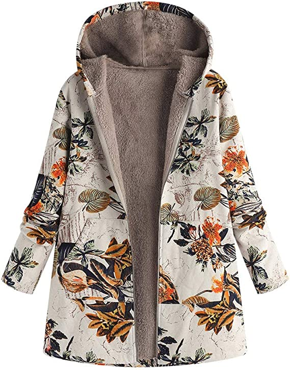 ZEFOTIM Womens Winter Warm Outwear Floral Print Hooded Pockets Vintage Oversize Coats