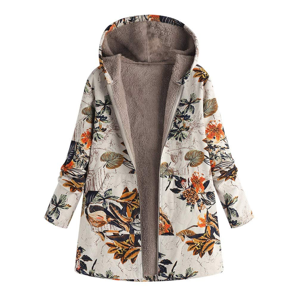 Pandaie Women Winter Warm Jacket Hooded Zip Plush Vintage Fleece Jacket Flowers Print Plus Size Winter Coats Orange by Pandaie
